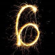 sparkler shaped as number 6
