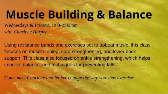 Muscle building Wednesdays and fridays 1:00-2:00