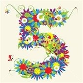 flowers grouped to create the number five