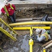 underground gas main installation