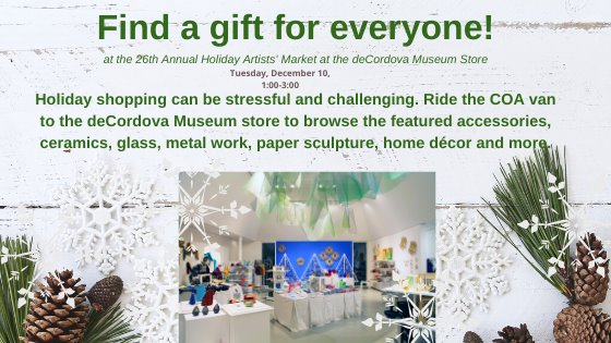 "White background with snowflakes, pine cones, and pine needles, in green font ""Find a gift for everyone at the 26th annual holidya artists' market at the decordova museum store Tuesday December 10 1:00-3:00"""
