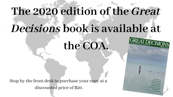 """Map background, image of great decisions book cover """"the 2020 edition of the great decisions book is available discounted price of $20"""""""