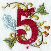 embroidered number 5 with holiday motif