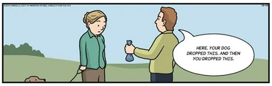 comic of a person giving a poop bag to dog walker