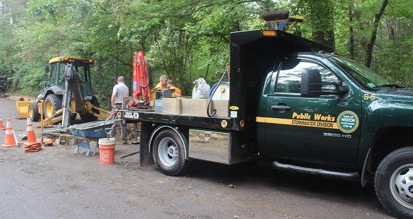 dpw trucks and road work