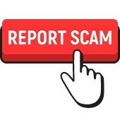 report scam in red with hand