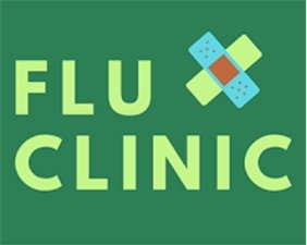 flu clinic with bandaids on green background