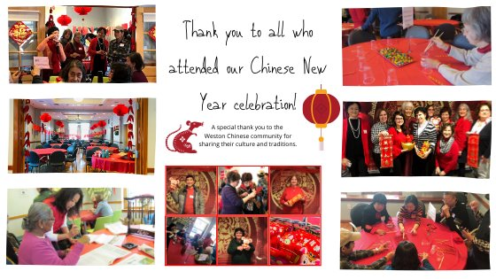 Images of people from chinese new year event- playing games, posing with props, red chinese decorations