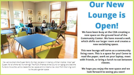 Our New Lounge is open! Image of staff sitting on couches in lounge