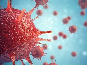 magnified virus microbe