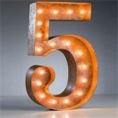 a sign made of light bulbs outlining the shape of the number 5