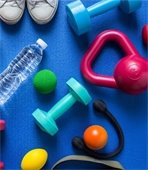 Picture of water bottle and weights