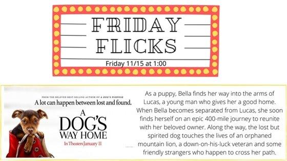 Friday Flicks Friday 11/15 at 1:00 A Dog's Way Home