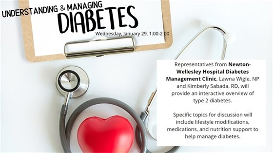 """stethescope and heart, clipboard, """"understanding and managing diabetes wednesday january 29 1-2"""""""