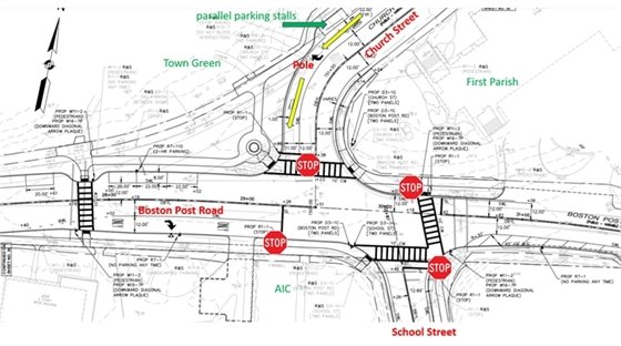 town center 4-way stop configuration
