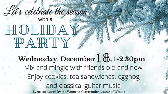 "Tree branch and snowy blue background ""Join us for a holiday party Wednesday, December 18 1-2:30"""