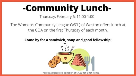 WCL community lunch thursday, february 6 11-1