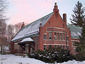 The Weston Public Library at 356 Boston Post Road was built in 1899-1900