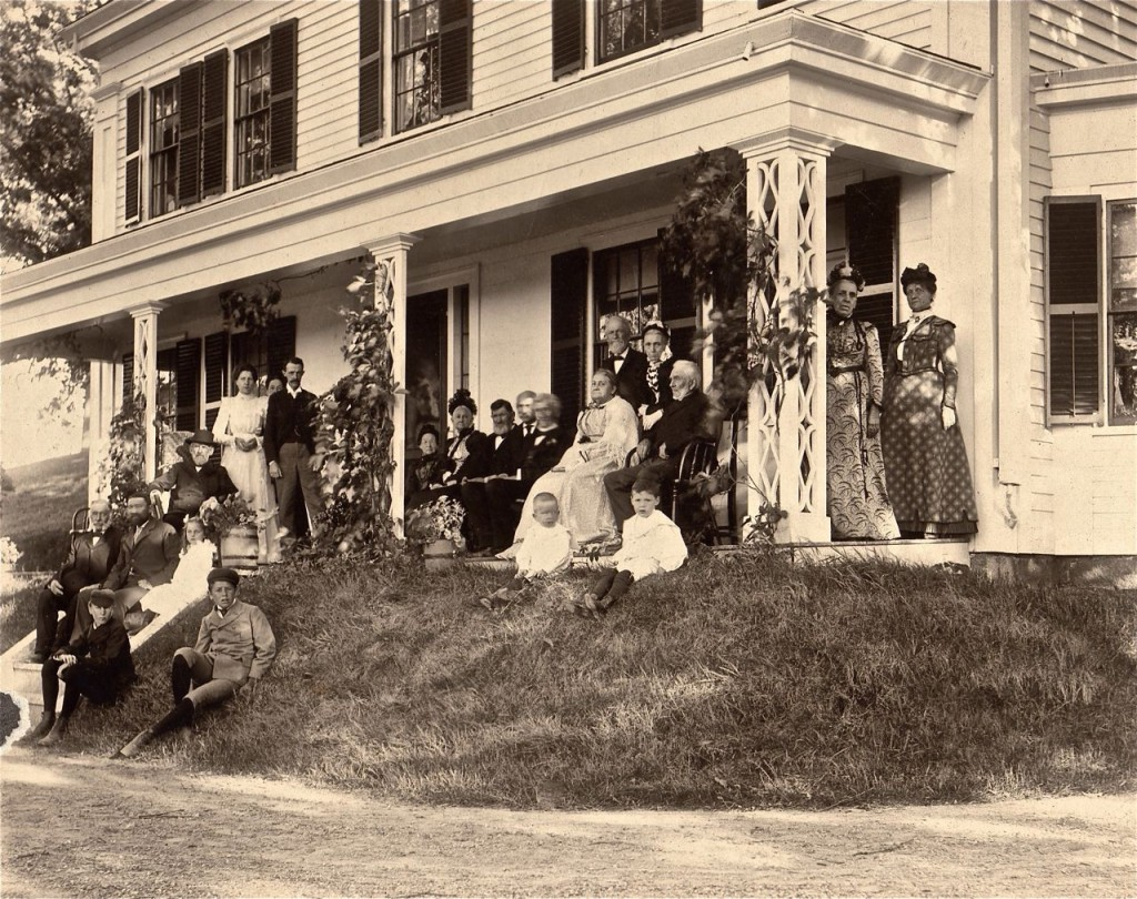 Edward Coburn and friends on the porch of the house at 171 Church Street