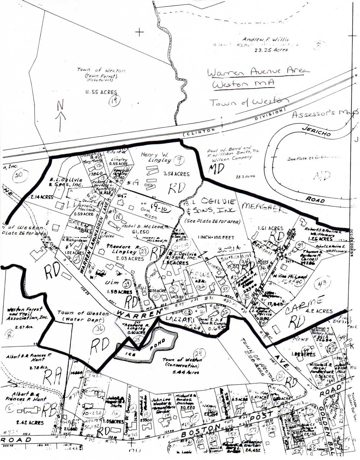 Sketch map of Warren Avenue Area