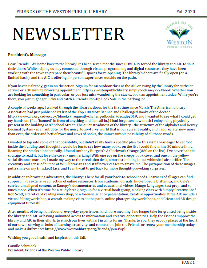 FWPL fall 2020 newsletter image, click for PDF
