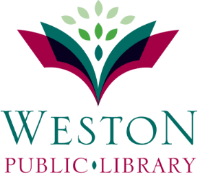 Town of Weston Library logo and reads: weston public llibrary how to use the weston public library at home