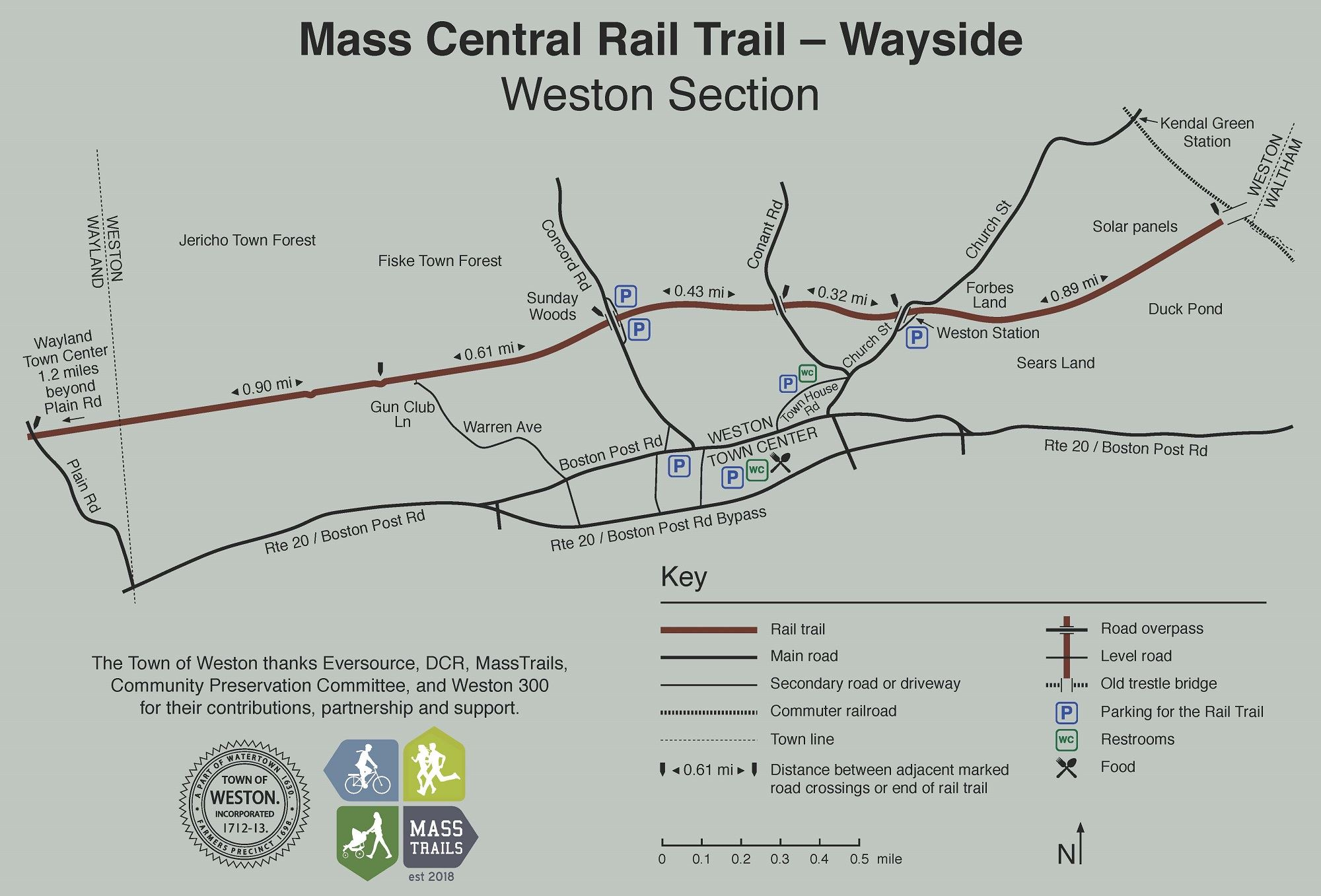 MCRT Weston rail trail map sign Opens in new window