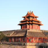 Chinese building in the forbidden city, blue sky